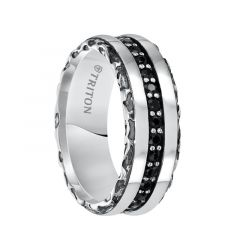 AZARIA Sterling Silver Cast Wedding Band with Riveted Black Sapphire Center and Polished and Carved Edges by Triton Rings - 8 mm