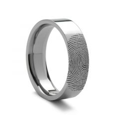 14k Fingerprint Ring White Gold Engraved Flat Band- 4mm - 8mm
