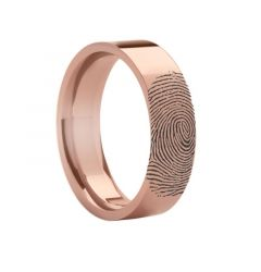 14k Fingerprint Ring Rose Gold Engraved Flat Band - 4mm - 8mm
