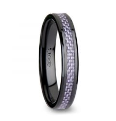 LILAC Beveled Black Ceramic Ring with Purple Carbon Fiber Inlay - 4mm & 6mm
