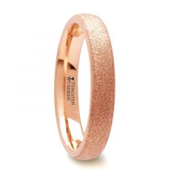 EMBER Domed Womens Rose Gold Plated Tungsten Carbide Ring with Sandblasted Crystalline Finish - 4 mm