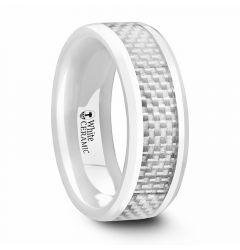 KENYON Beveled Polished White Ceramic Wedding Band with White Carbon Fiber Inlay – 8mm