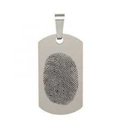 Fingerprint Engraved Tungsten Carbide Dog Tag PendantWith Chain