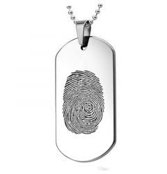 Fingerprint Engraved Sterling Silver Dog Tag Pendant With Sterling Silver Chain