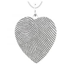 Fingerprint Engraved 14k White Gold Heart PendantWith White Gold Chain