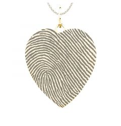 Fingerprint Engraved 14k Yellow Gold Heart Pendant
