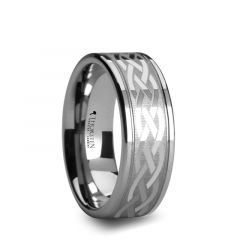 PAETUS Flat Dual Offset Grooved Tungsten Ring with Celtic Design -  10mm