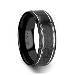 Fingerprint Engraved Flat Black Tungsten Ring with Brushed Finish & Polished Grooves - Nocturne - 6mm - 8mm