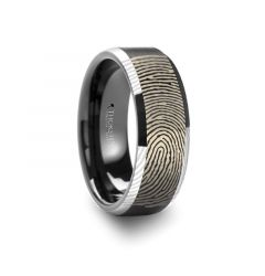 Fingerprint Engraved Flat Black Tungsten Ring with Brushed Finish with Polished Beveled Edges - Aston - 4mm - 10mm