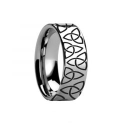 Triquetra Celtic Trinity Ring Engraved Flat Tungsten Ring Polished- 4mm - 12mm