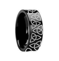 Triquetra Celtic Trinity Ring Engraved Flat Black Tungsten Ring Polished- 4mm - 12mm