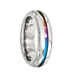 AINSLEY Domed Titanium Ring with Multi-Colored Anodized Groove by Edward Mirell - 6 mm