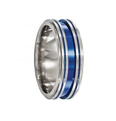 ACE Titanium Ring with Blue Anodized Grooves by Edward Mirell - 8 mm