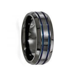 VIRILIUS Beveled Black Titanium Ring with Blue Anodized Grooves by Edward Mirell - 8 mm
