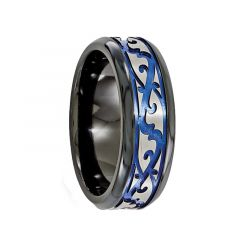 VICTORIUS Black Titanium Ring with Scroll Pattern by Edward Mirell - 9 mm