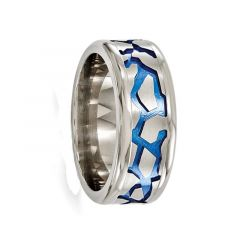 VERGILIUS Titanium Ring With Brushed Center & Blue Anodized Pattern by Edward Mirell - 8mm