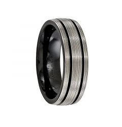 TERENTIUS Black titanium Ring with Brushed Grooves by Edward Mirell - 7 mm