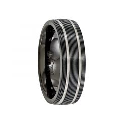 TATIUS Black Titanium Ring with Textured Lines by Edward Mirell - 7 mm
