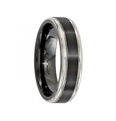 TARQUINIUS Black Titanium Ring with Traction Finish by Edward Mirell - 6.5 mm