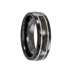 PUBLIUS Black Titanium Ring with Polished Grooves by Edward Mirell - 7 mm