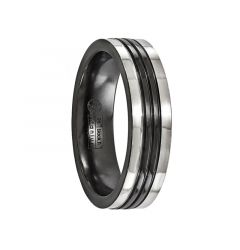 PORCIUS Black Ring Titanium ring with Polished Grooves by Edward Mirell - 6 mm