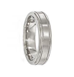 PETRONIUS Titanium Ring with Satin center & Millgrains by Edward Mirell - 6 mm