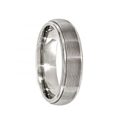 PAULUS Domed Titanium Ring with Brush & Polished Textured Lines by Edward Mirell - 8 mm