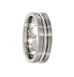 OVIDIUS Titanium Ring  with Brush & Polished Textured Lines by Edward Mirell - 7 mm