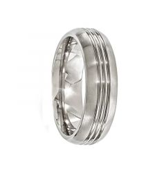 EDD Brushed Titanium Ring with Polished Grooves by Edward Mirell - 7 mm