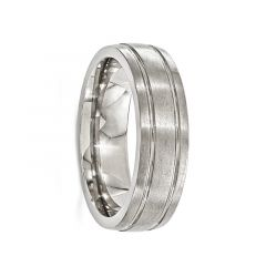 MAURUS Brushed Titanium Ring with Polished Grooves by Edward Mirell - 7 mm
