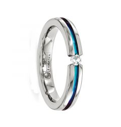 MARINA Titanium Ring with White Sapphire & Anodized Groove by Edward Mirell - 4 mm