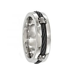MANIUS Polished Titanium Ring with Center Cable by Edward Mirell 7 mm