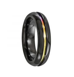 HORTENSIA Black Titanium Ring with Mulit-Colored Anodized Groove by Edward Mirell - 6 mm