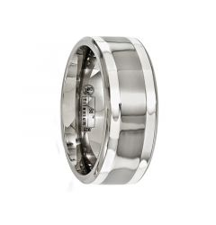 LUCRETIUS Titanium Ring with Dual Sterling Silver Inlays by Edward Mirell - 9 mm