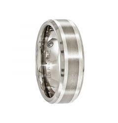 LEONTIUS Beveled Titanium Ring with Sterling Silver Inlay Band by Edward Mirell - 7 mm