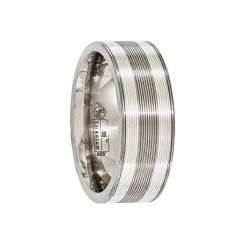 LAURENTIS Titanium Ring With Sterling Silver Inlay Textured Lines by Edward Mirell - 8.5 mm