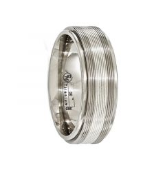 LAELIUS Titanium Ring with Sterling Silver Textured Lines by Edward Mirell - 7.5 mm