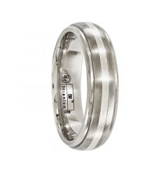 JUPITER Titanium Ring with Brushed & Sterling Silver Inlay by Edward Mirell - 6 mm