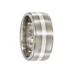 JUNIUS Titanium Ring with Brushed center & Sterling Silver Inlay by Edward Mirell - 10 mm