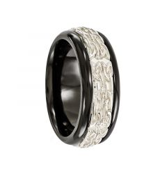JULIUS Black Titanium Ring W/Sterling Silver Patterned Band by Edward Mirell - 9 mm