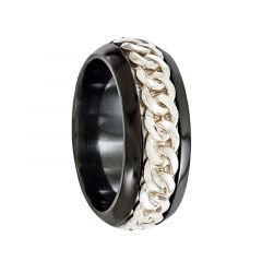 LULUS Black Titanium Ring & Sterling Silver Chain Inlay by Edward Mirell - 9 mm