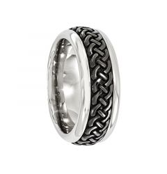 HORACE Titanium Ring with Centered Black Patterned by Edward Mirell - 9 mm
