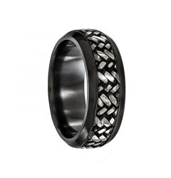 HONORATUS Black Titanium Ring with Centered Pattern by Edward Mirell - 9 mm