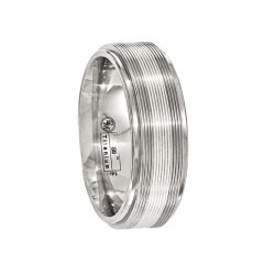 FULGENTIUS Titanium Ring with 14k White Gold Inlay & Textured Lines by Edward Mirell - 7.5mm