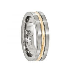 FORTUNATO Titanium Ring with 14K Gold Inlay by Edward Mirell - 6 mm