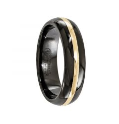 CERES Black Titanium Ring & 14K Gold Inlay by Edward Mirell - 6 mm