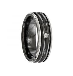 FABRICUS Black Titanium Ring with .03 ct Diamond & Black Grooves by Edward Mirell - 7 mm