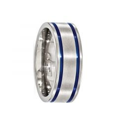 DRUSUS Titanium Ring with Blue Anodized Grooves by Edward Mirell - 8 mm