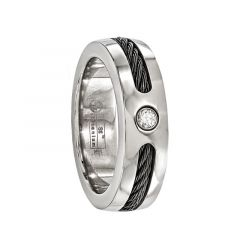 CLAUDIUS Titanium Ring with .10 ct Diamond & Black Cable by Edward Mirell - 7 mm