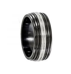 CINCINNATI Black Titanium Ring with Stainless Steel Center by Edward Mirell - 9 mm
